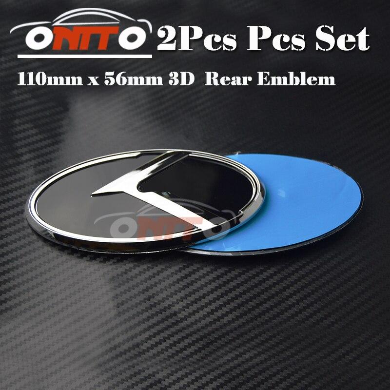 Hot selling 2pcs 3D sticker Trunk Hood Emblem Head Bonnet Label Cover for OPTIMA K2/K3/K4/K5 sorento car Tail boot Emblem