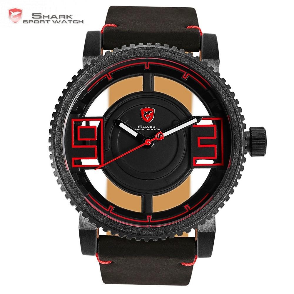 Megamouth акула спортивные часы черный, Красный 3D Специальный прозрачный дизайнер полые Топ брендовые кожаные Наручные Кварцевые Мужские Часы/...