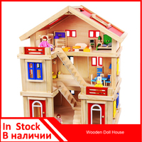 Onshine Wooden Doll House Classic Toy Pretend Play Furniture Toy Simulation House DIY House Furniture Show Scene Show