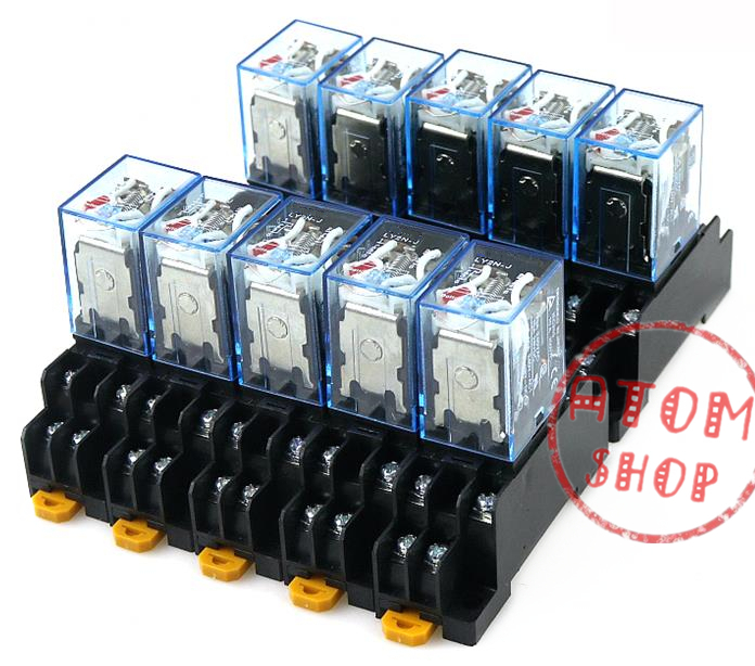 цена на 10 sets/Lot LY2NJ 220V AC DC Coil Power Relay Miniature Relay DPDT 8 Pins 10A 2 With PTF08A Socket Base