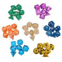 49pcs Multi Sided 7 Colors Polyhedral Dice Digital Acrylic Dice Set With 7 Bags Party Club