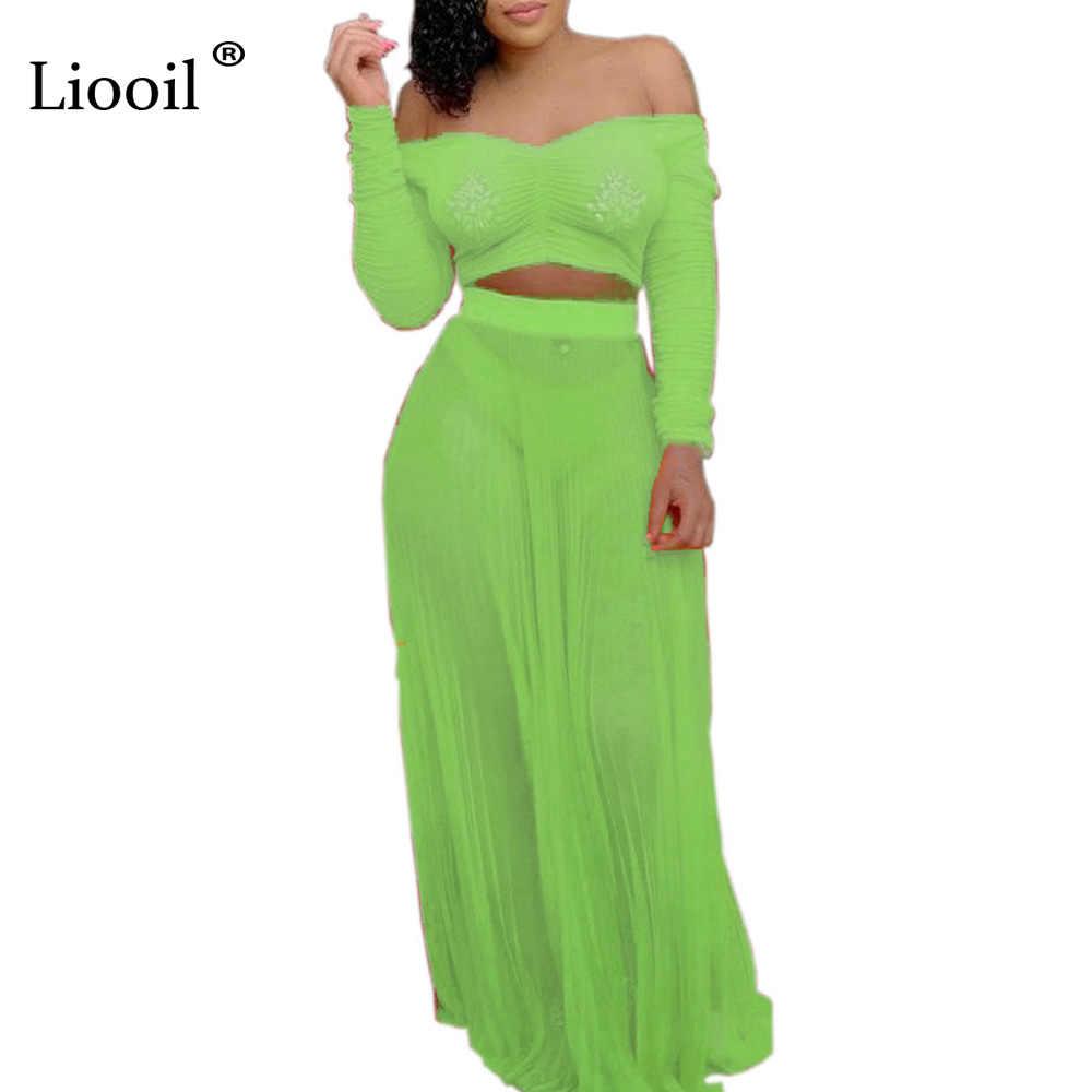 Liooil Neon Green Strapless 2 Piece Set Women