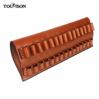Tourbon Tactical Hunting Rifle Cartridges Holder Fit 30 06,270,65*55 Genuine Leather Ammo Pouch Bullet Carrier Gun Accessories