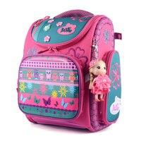2017 Delune New School Bags Children Orthopedic Backpacks School Backpacks Nylon Material Owl Print Backpack For Girl Grade 1 5