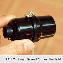 E26E27 UL Bakelite Lamp Holder Retro Pull Chain Screw Bulb Lamp Socket Vintage Edison Zipper Switch Pendant Lamp bases 3PCS/Lot