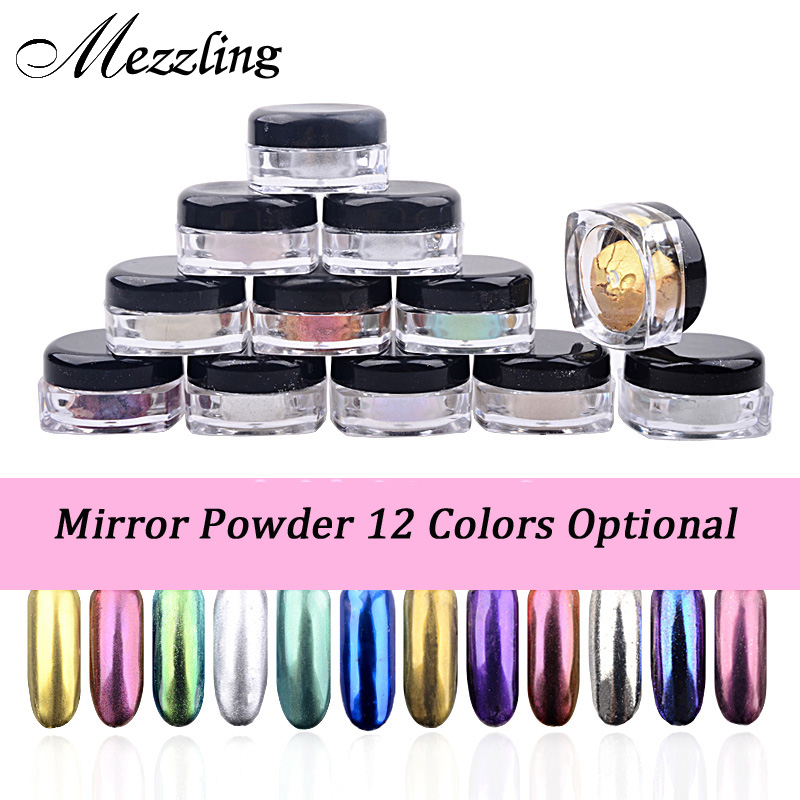 Ny 2g / låda Shinning Mirror Nail Glitter Pulver Damm DIY Nail Art Sequins Chrome Pigment Decorations 12 färger Valfritt