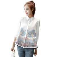 Women cotton embroidery white blouse Stand neck flowers embroidered shirt 2019 Summer Casual Shirts female tops