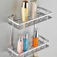 Dupla camada de alumínio espaço prateleira do banheiro chuveiro shampoo sabão cosméticos prateleiras acessórios do banheiro organizador armazenamento titular rack