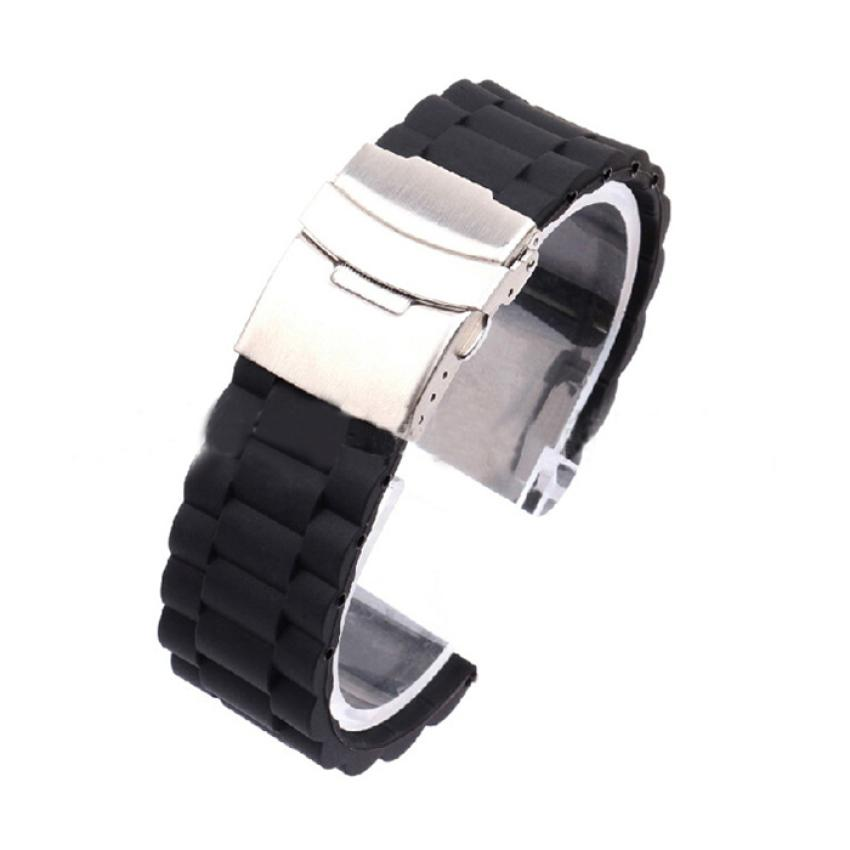 все цены на Essential 20mm/22mm/24mm Width Mens Silicone Rubber Watch Strap Band Waterproof with Deployment Clasp  Oct22 онлайн