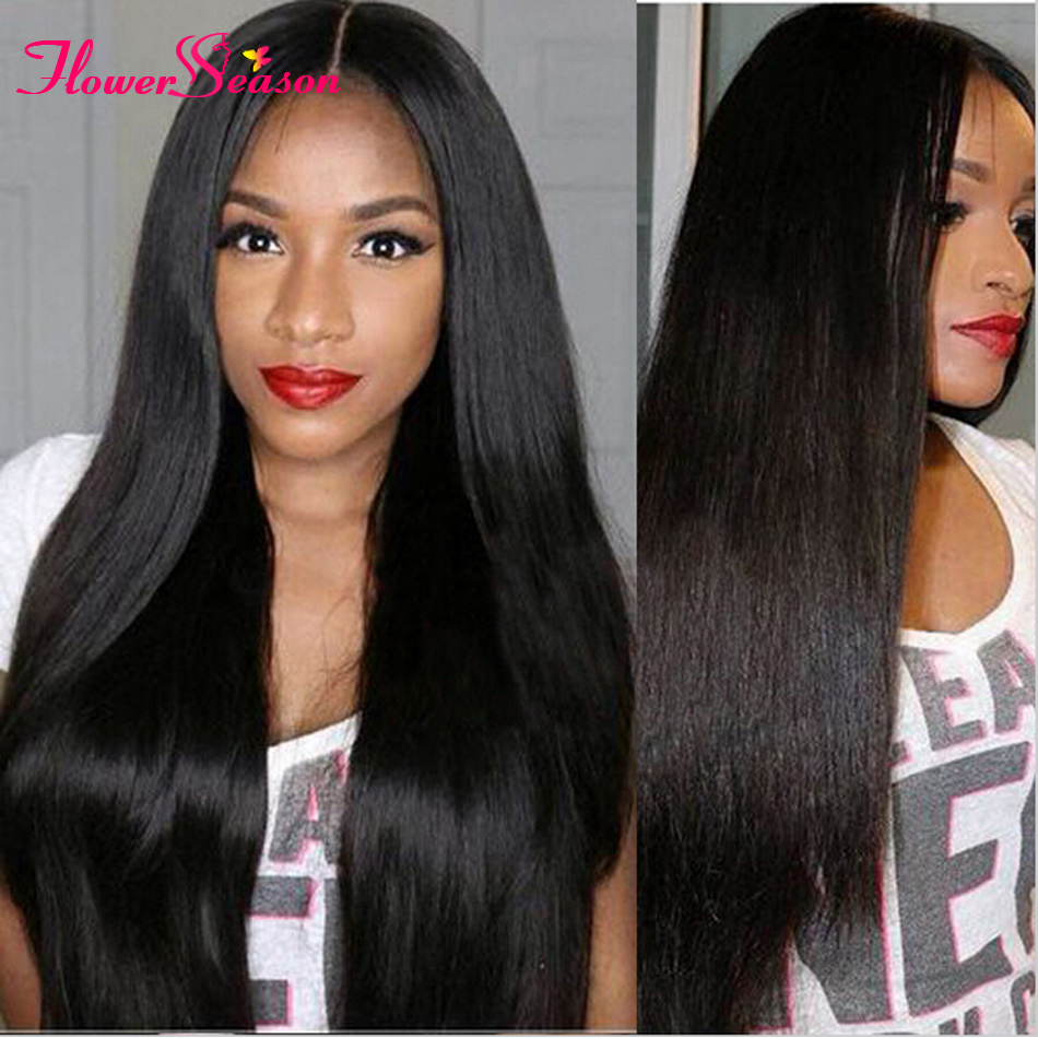 Thick Brazilian Full Lace Wigs With Baby Hair Natural Hairline Light Yaki Straight Virgin Human Hair Lace Front Wigs Black Women