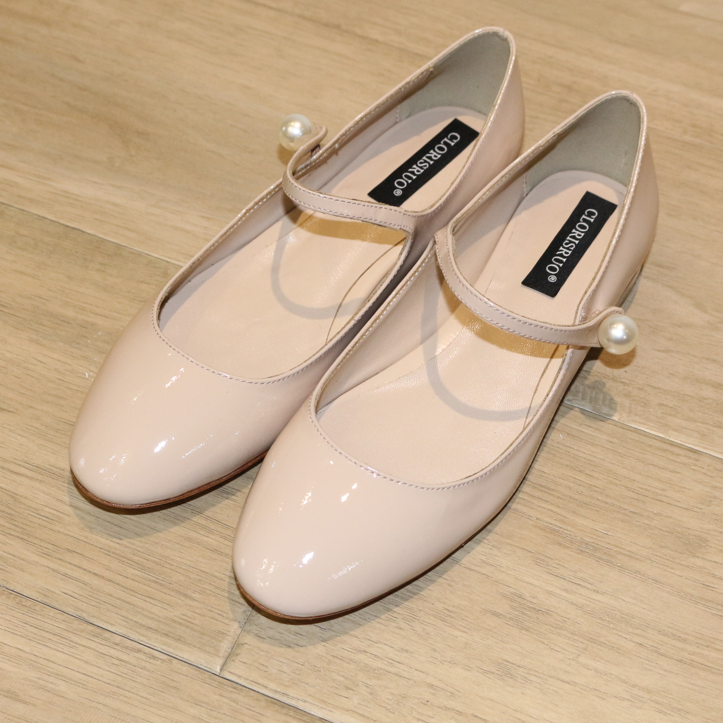 2019 Women Fashion Genuine Leather Ballet Flats Nude Color/light pink Dress Shoes Wedding Shoes Flat Ballerina Shiny Patent