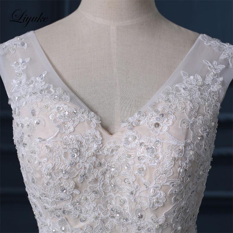 Liyuke Κομψό Σατέν Τούλι Γλυκιά Φόρεμα - Γαμήλια φορέματα - Φωτογραφία 4