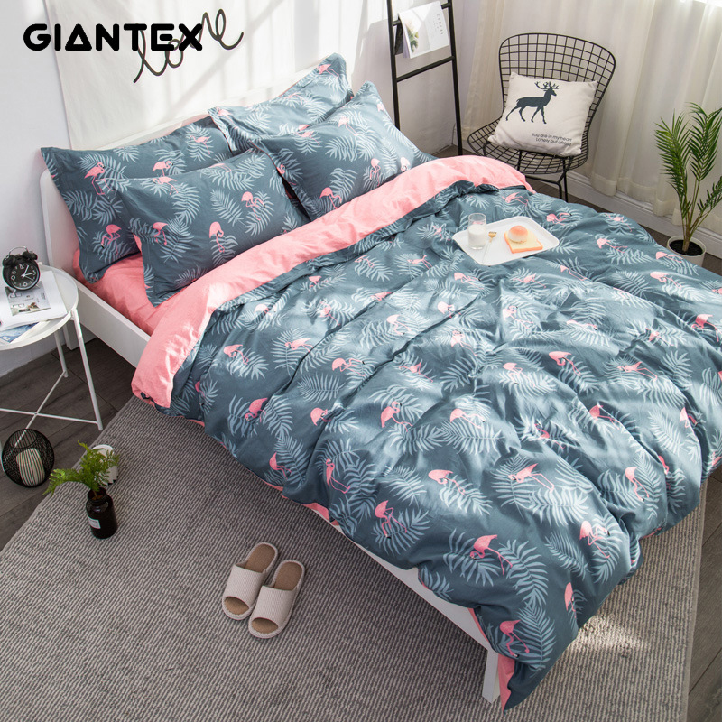 GIANTEX 4 Pcs Cotton Print Bedding Set Pillowcase Sheet Duvet Cover Set Queen Size Home Textile