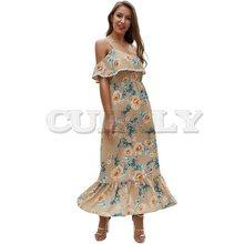 Cuerly Summer Long Floral Dresses Women Chiffon Robe Chic Print Ruffle Sexy Strap Sundress Blue Boho Backless Beach Maxi Dress