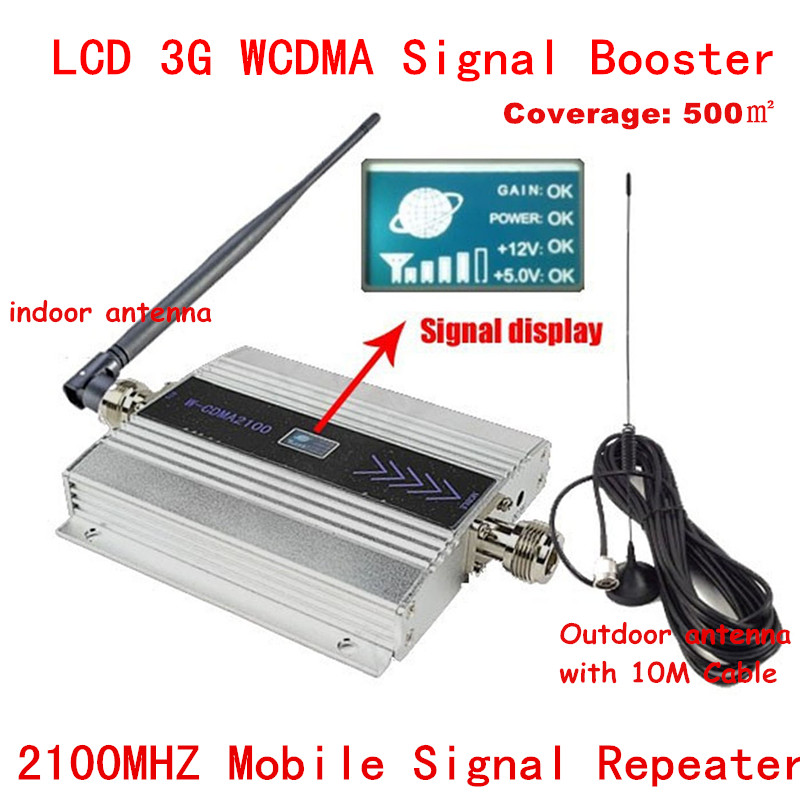 Hot ! LCD Family WCDMA UMTS 3G 2100 MHz 2100MHz Mobile Phone Signal Booster Repeater Cell Phone Amplifier With Antenna+10M Cable