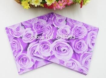 [RainLoong] rosa de papel servilletas mamá flor festiva y servilletas de tela para fiestas Decoupage decoración de papel 33cm * 33cm 5 paquetes