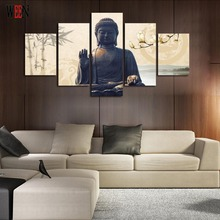 5 Piece Buddha Canvas Art With Framed Directly Handed Wall Pictures For Living Room HD Print Large Modern Cuadros Decoracion