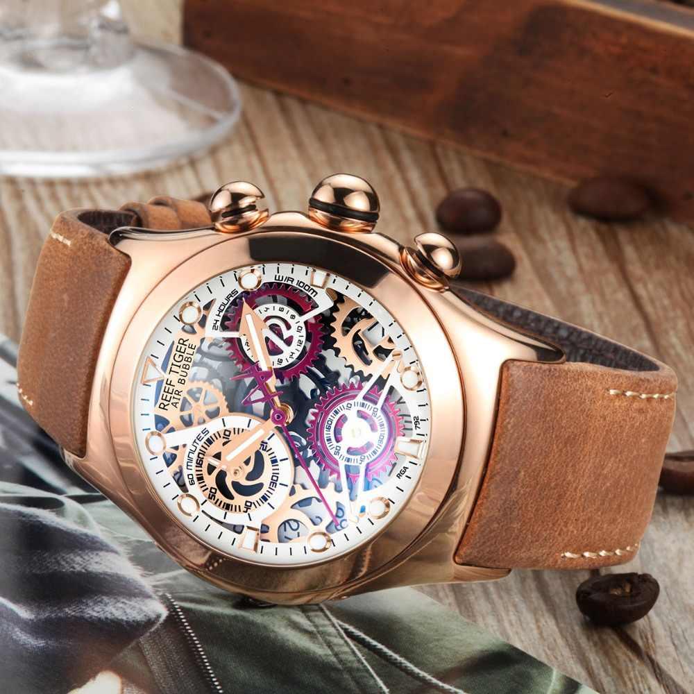 リーフ虎/rt クロノグラフスポーツウォッチ男性のためのスケルトン日付 3 カウンター発光ローズゴールドユニークな腕時計 RGA792