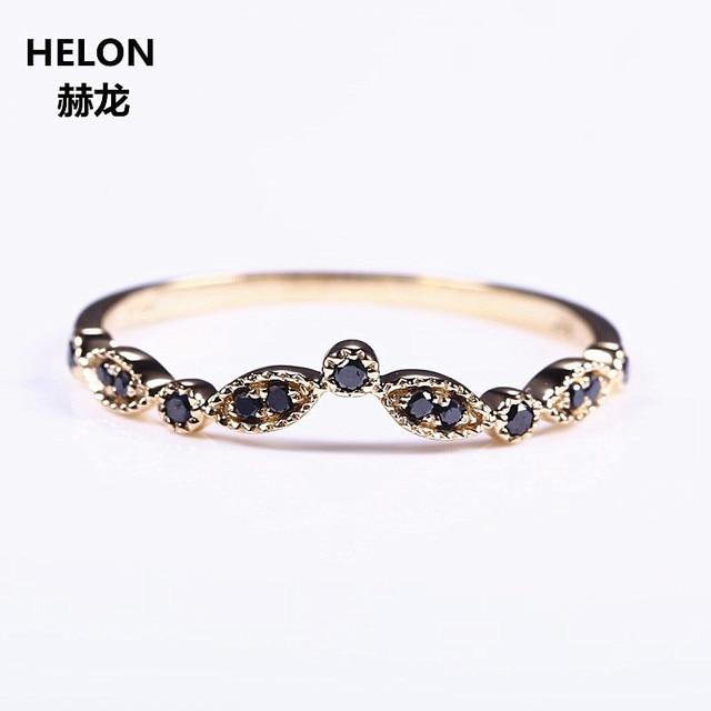 Solid 14k Yellow Gold Natural Black Diamonds Wedding Band Engagement Ring Women Fine Jewelry Millgrain Art