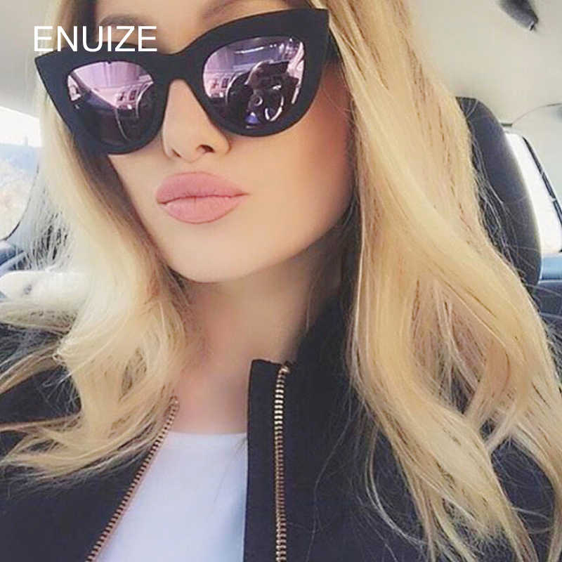 3134451cf2a44 ... Vintage Mirror Cat Eye Sunglasses Women Brand Designer Retro Black Sun  Glasses for Women Ladies Cateye ...