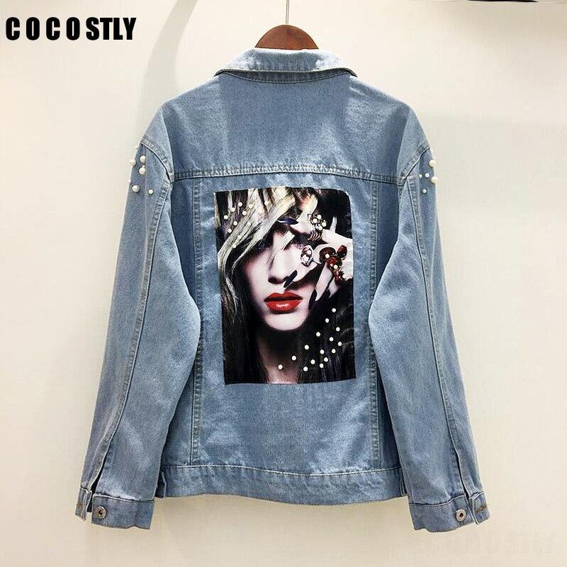 2018 Denim Jackets Women Back Printed Boyfriend Style Long Sleeve Beading Vintage Jean J ...