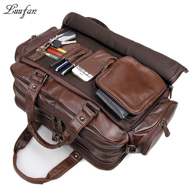 """Для Мужчин's натуральная кожа портфель 16 """"большой из натуральной кожи сумка-тоут для ноутбука из коровьей кожи бизнес сумка с двойной подкладкой сумка"""
