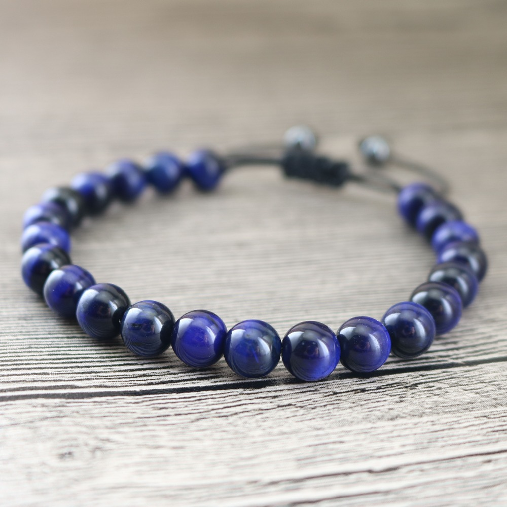 New Arrivals Blue Tiger Eye Stones Beads Strand Bracelets For Men's Fashion Jewelry Women's Wrap Wristband Accessories