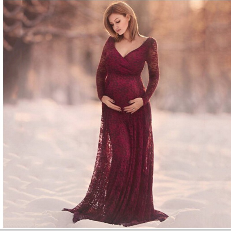 Plus Size Lace Maternity Dresses for Photo Shoot Long Sleeve 2018 Pregnant Dress Photography Clothes for Pregnant Women chic scoop collar long sleeve hit color plus size dress for women