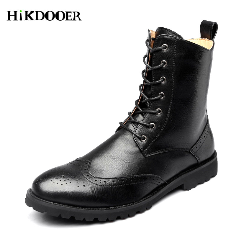New Arrival martins men boots winter military black boots men shoes leather Mid-Calf Lace-Up Round Toe botas masculina