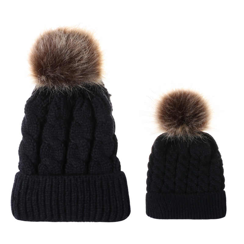 ... Mom and Baby Hat with Pompon Warm Raccoon Fur Bobble Beanie Kids Cotton  Knitted Parent- ... 3488aa207330