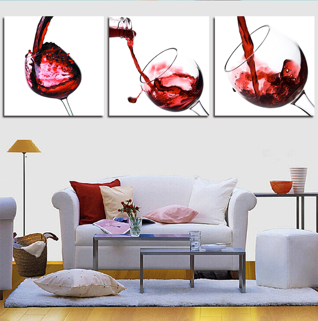 3 Piece Modern Wall Art Red Wine Series Home Decor Picture On Canvas Painting Printed Cuadros Artwork Unframed