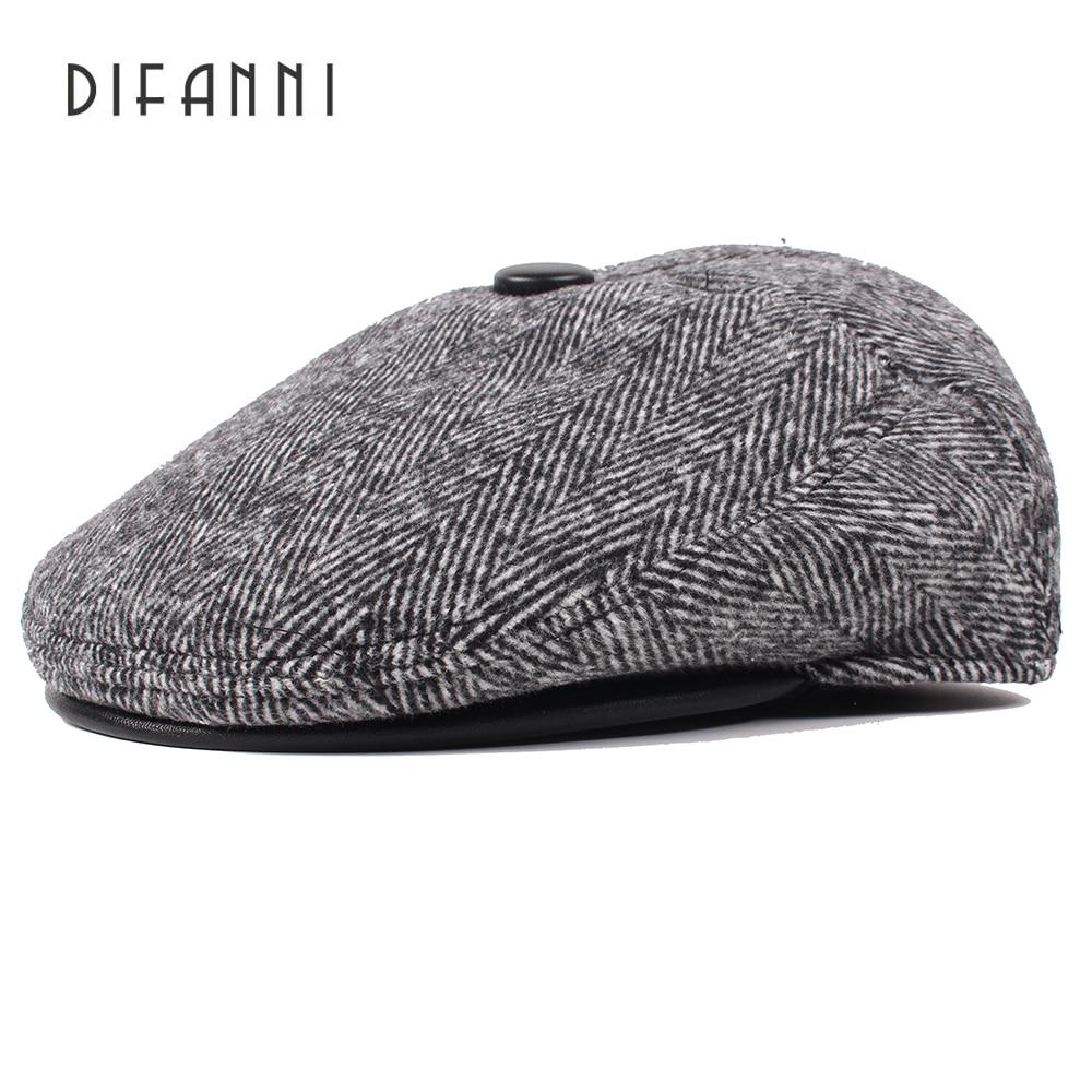Image Difanni 2017 New Winter Beret Hats for Men Retro Cap Dad Hat British Retro Men Flat Cap