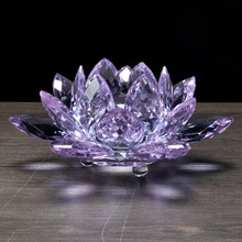 60mm Quartz Crystal Lotus Flower Crafts Ornaments Glass FengShui Buddhism Crystals Craft Table Home Decors
