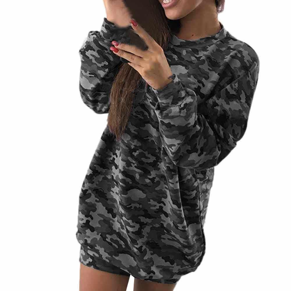 JAYCOSIN повседневные свободные толстовки платье 2019 осеннее женское камуфляжное платье-рубашка с принтом сексуальное платье с длинным рукавом Harajuku мини платье одежда