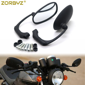 ZORBYZ Motorcycle Black L-bar Retro Oval Rearview Side Mirror For GN/ CG Cafe Racer Custom(China)