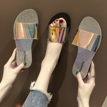 Outdoor shining sandals Flat Slippers Women Summer Beach Shoes Fashion multicolor Women Black and Silver Slippers