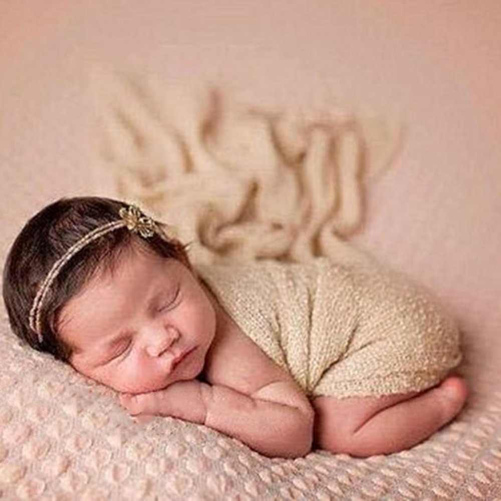 40150cm baby receiving blankets newborn photography props stretch knit wrap hollow wraps hammock photo
