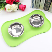 ФОТО dogibila new creative sunscreen silicone pet double bowl environmental protection silicone antiskid tableware dog bowl