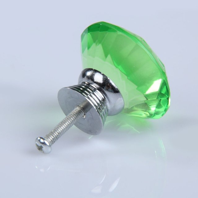 FSLH 10 pcs Forma de Diamante de Cristal de Vidro Da Gaveta Pull Handle Knob (Verde)