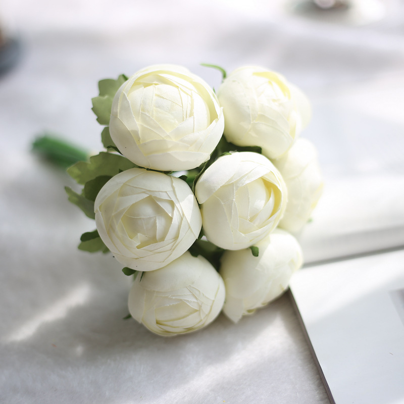 1 Bunch 7 Heads Cheap Artificial Flower High Quality Fake Round Rose ...