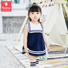 Tinsino Baby Girls Fashion Sailor Collar Stripes Dress Infant Girl Bow Tie Mini Dress Children Girl Summer Clothes Kids Clothing