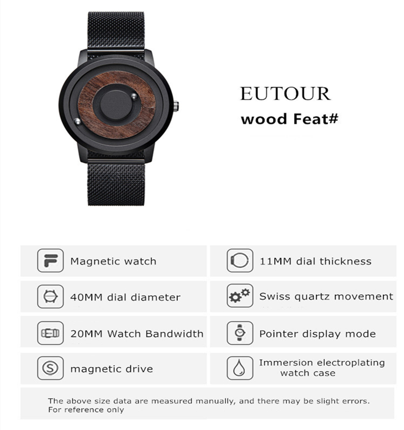 Magnetic wood watch