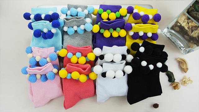 Princesa meias lolita doce outono e inverno bola de pêlo de cores dos doces mais linda meias de algodão DW22