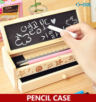 Drawer Style Wood Pencil Case Double Layer School Student Wooden Pencil Box With Mini Blackboard