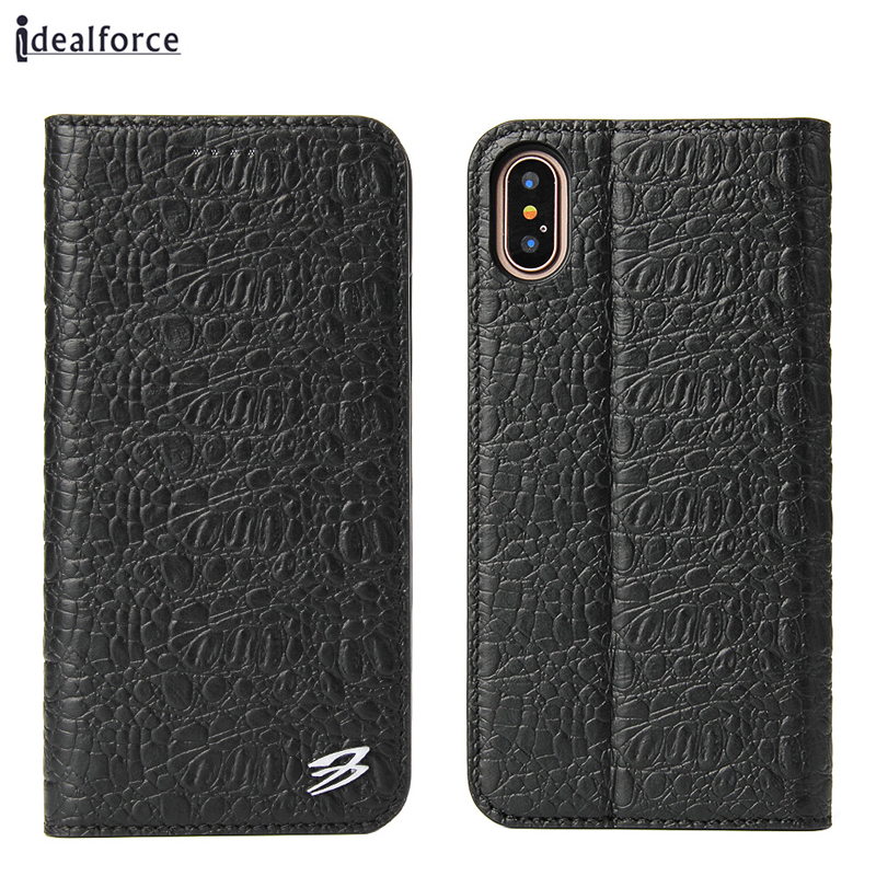 For iphone X Leather Wallet Phone Case , Luxury Genuine Flip Case with Card Slot for 6 7 8 Plus Crocodile pattern for Samsung S8