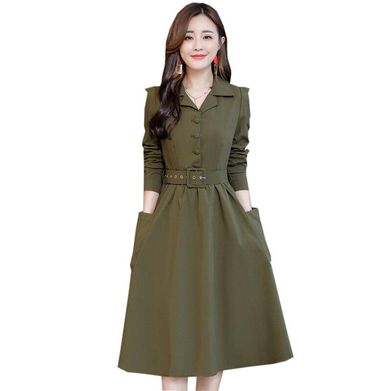 2019 printemps femmes robes élégantes à manches longues col en v ceintures robe armée vert femme genou longueur automne robes YP2265