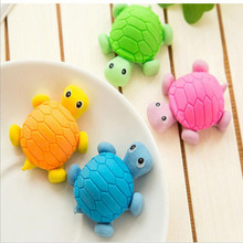 36pcs/lot Cute Simulation Turtle Eraser Student School Office Stationery Plastic Bags Creative Stationery Gifts