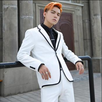 Men Suits British Wind Slim Single-breasted Wedding Dress Suit Two-piece Nightclub Singer Costumes 2020 Spring And Summer Tide
