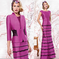 2017 Mother of The Bride Dresses with Jacket For Wedding Purple Lace Long Mermaid Godmother Evening Dresses Mother Dresses