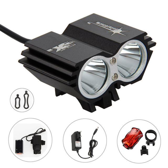 7000Lumen XM-L U2 LED Bike Light Bicycle Lights Rechargeable Lamp Torch Cycling Accessories with Battery Pack + Back Taillight